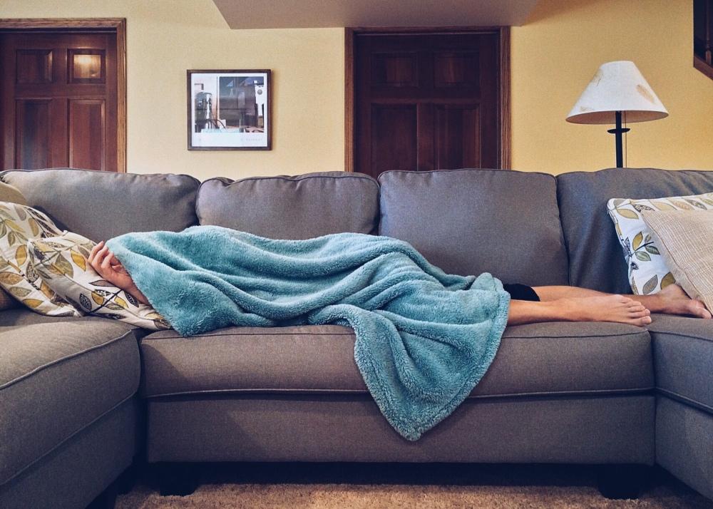 Sleeping on a sofa