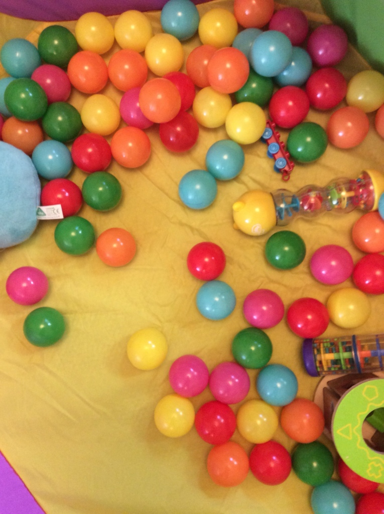 Toys in a ball pit